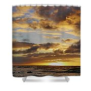 Sandy Beach Sunrise Shower Curtain