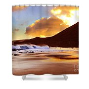 Sandy Beach Sunset Shower Curtain