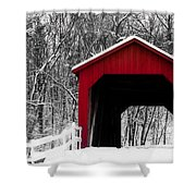 Sandy Creek Cover Bridge With A Touch Of Red Shower Curtain