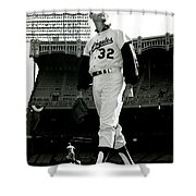 Sandy Koufax Vintage Baseball Poster Shower Curtain by Gianfranco Weiss