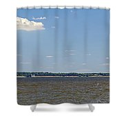 Sandy Pt Shoal Lighthouse - Pano Shower Curtain