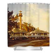 Sanibel Lighthouse Landscape Shower Curtain