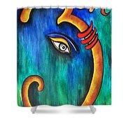 Sanskrit Om Ganesha Shower Curtain