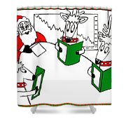 Santa And Reindeer Conference Shower Curtain