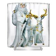 Santa And Reindeer Shower Curtain