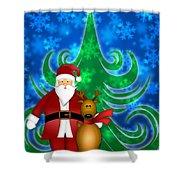 Santa And Reindeer In Winter Snow Scene Shower Curtain