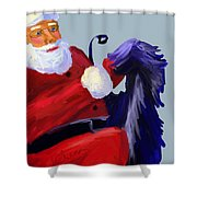 Santa Blue Shower Curtain
