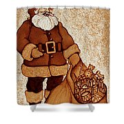 Santa Claus Bag Shower Curtain by Georgeta  Blanaru