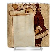 Santa Claus Wishlist Original Coffee Painting Shower Curtain by Georgeta  Blanaru