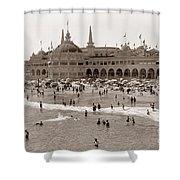 Santa Cruz Beach From Pleasure Pier  California Circa 1908 Shower Curtain