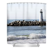 Santa Cruz Lighthouse Wave Wide Shower Curtain by Barbara Snyder