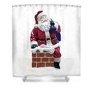 Santa Down The Chimney Shower Curtain