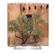 Santa Fe - Adobe Building And Tree Shower Curtain