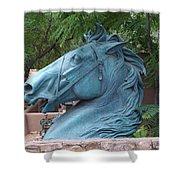 Santa Fe Big Blue Horse Shower Curtain