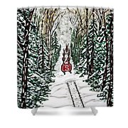 Santa Flying To Your House Shower Curtain