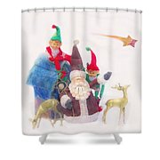 Santa Gets Ready Shower Curtain