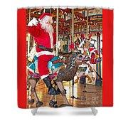 Santa Go Round Shower Curtain