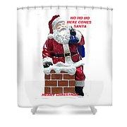 Santa Greeting Card Shower Curtain