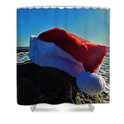 Santa Hat And Ocean 10 12/19 Shower Curtain