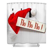 Santa Hat And Sign Shower Curtain