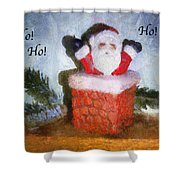 Santa Ho Ho Ho Photo Art Shower Curtain