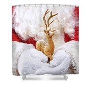 Santa Holding Reindeer Figure Shower Curtain