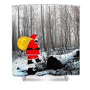 Santa In Christmas Woodlands Shower Curtain