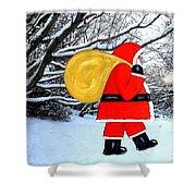 Santa In Winter Wonderland Shower Curtain