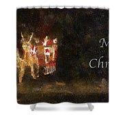 Santa Merry Christmas Photo Art Shower Curtain