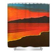 Santa Monica Beach And Mountains Shower Curtain