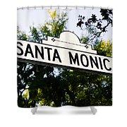 Santa Monica Blvd Street Sign In Beverly Hills Shower Curtain by Paul Velgos