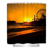 Santa Monica Pier California Sunset Photo Shower Curtain by Paul Velgos