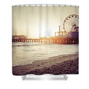 Santa Monica Pier Retro Sunset Picture Shower Curtain