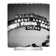 Santa Monica Pier Sign In Black And White Shower Curtain by Paul Velgos