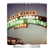 Santa Monica Pier Sign Retro Photo Shower Curtain