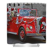 Santa On Fire Truck Shower Curtain