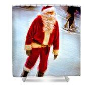Santa On Ice Shower Curtain