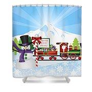 Santa On Train With Snow Scene Shower Curtain