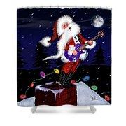Santa Plays Guitar In A Snowstorm 2 Shower Curtain