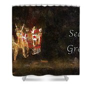 Santa Season Greetings Photo Art Shower Curtain