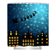 Santa Sleigh Reindeer Flying Over Victorian Houses Shower Curtain