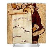 Santa Wishes Digital Art Shower Curtain