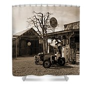 Santa Ynes Gas Station    Sepia Shower Curtain