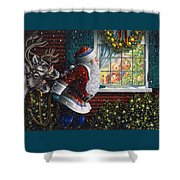 Santa's At The Window Shower Curtain