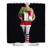 Santa's Helper Merry Christmas Elf Card Shower Curtain
