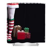 Santas Little Helper Shower Curtain by Edward Fielding