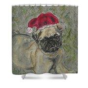 Santa's Little Pugster Shower Curtain