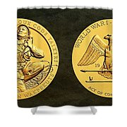 Santee Sioux Tribe Code Talkers Bronze Medal Art Shower Curtain