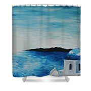 Santorini Blue Dome Shower Curtain