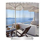 Santorini Balcony  Shower Curtain